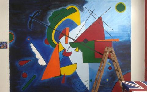 Wandgemälde im Kandinsky Style ( 3,60m x 3,00m)